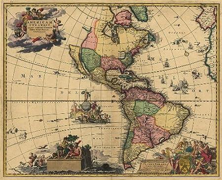 Reproduction Gerard van Keulen 1700 Colour Map of North & South ...