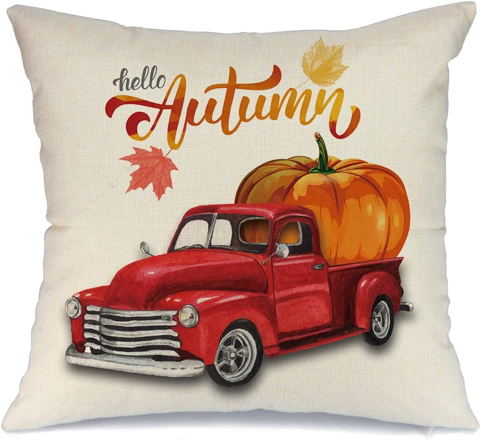 Amazon Com Aeney Fall Red Truck And Pumpkin Throw Pillow Cover 18 X 18 For Couch Vintage Fall Decorations Farmhouse Home Decor Autumn Thanksgiving Decorative Pillowcase Faux Linen Square Cushion Case For Sofa