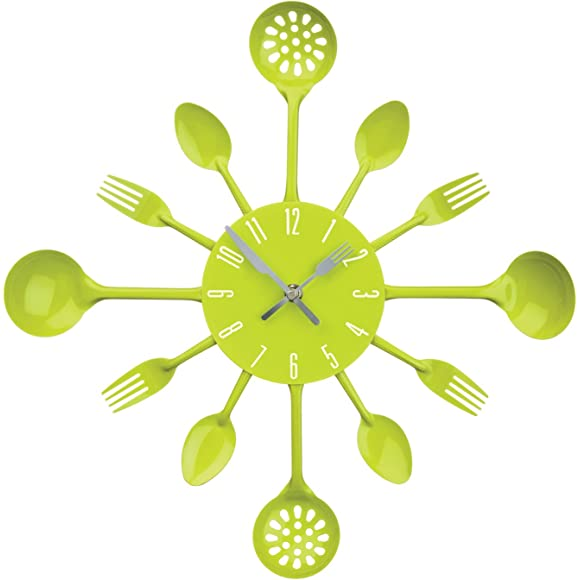 Premier Housewares Lime Green Cutlery Wall Clock