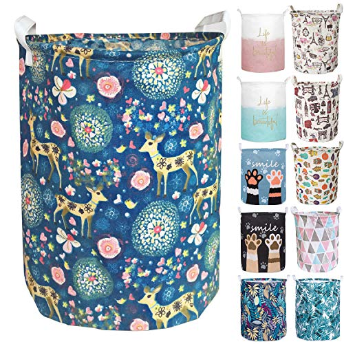 Merdes 19.7'' Waterproof Foldable Laundry Hamper, Dirty Clothes Laundry Basket, Linen Bin Storage Organizer for Toy Collection (Deer) (Fabric Hamper)