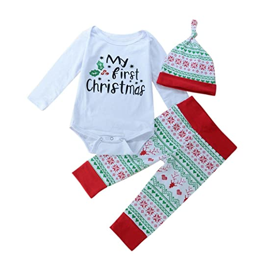 Toddler Baby Clothes Set My First Christmas Outfit Tops+Pants+Hat Infant Boy  Suits - Amazon.com: Toddler Baby Clothes Set My First Christmas Outfit Tops+