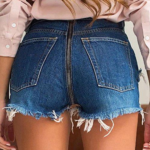 Vaqueros Como Rotos De Con Shorts Mezclilla Cremallera Trasera Mujeres La Fit Slim Imagen Corto q0tPw6tU