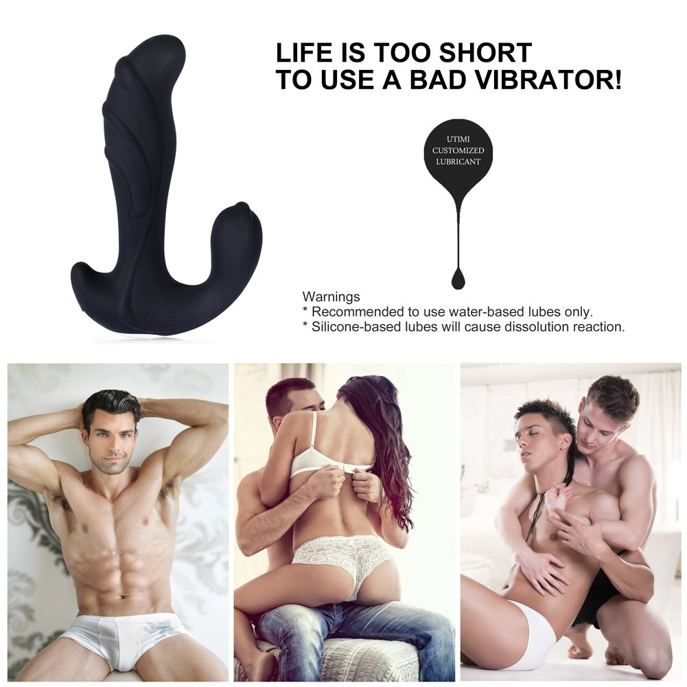 Utimi Vibrating Prostate Massager Anal Plug Butt Plug Anal Vibrator Sex Toy 10 Speed Silicone USB Charging Vibrations for Men and Women