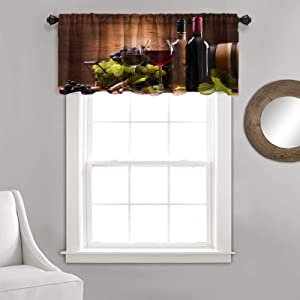 Kitchen Curtain Valance Winery Decor Red Wine Barrels Bottles Glasses Grapes on a Anti 1 Panel 36