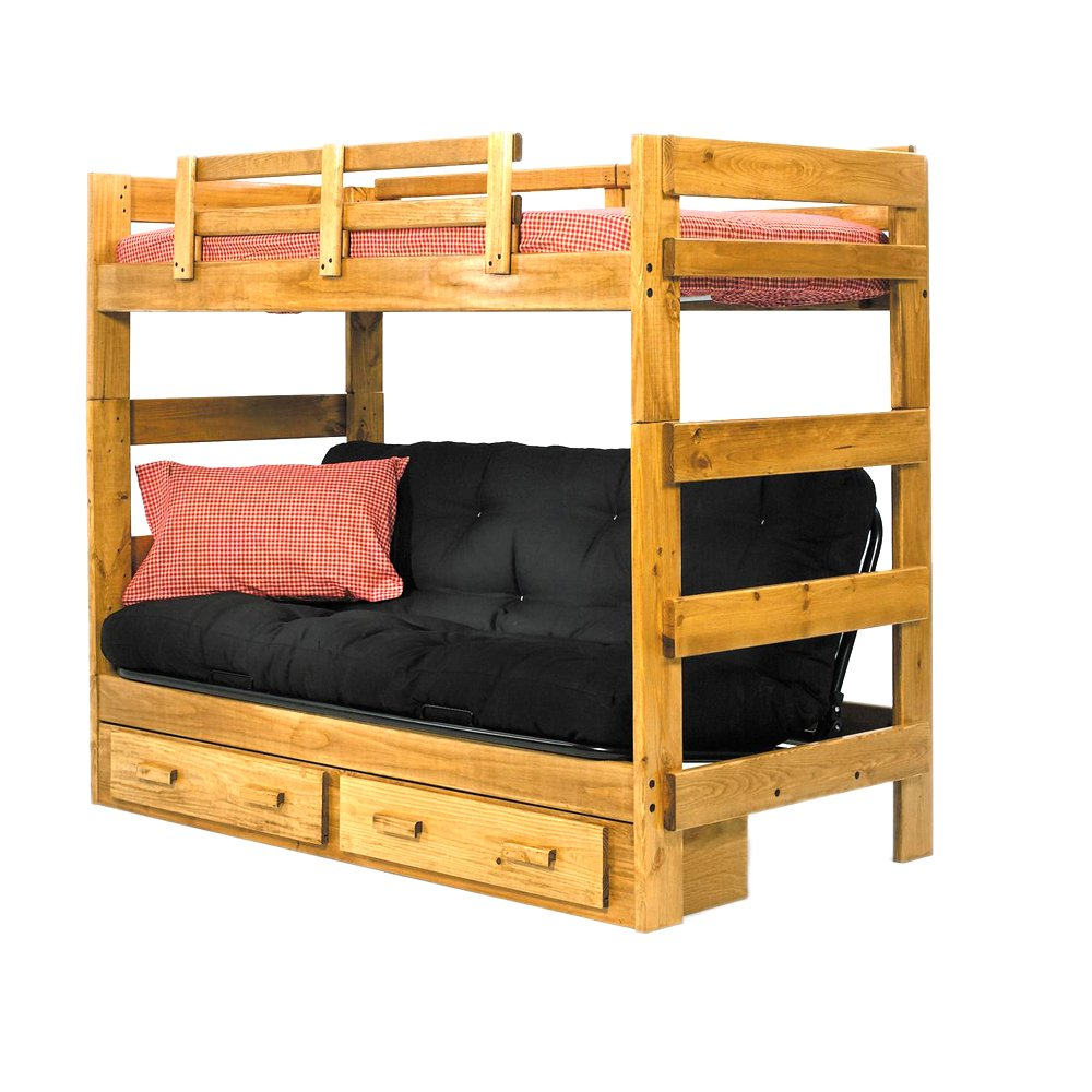 Amazon.com: Chelsea Home Furniture 366200-S Twin Over Futon Bunk Bed with  Underbed Storage, 68