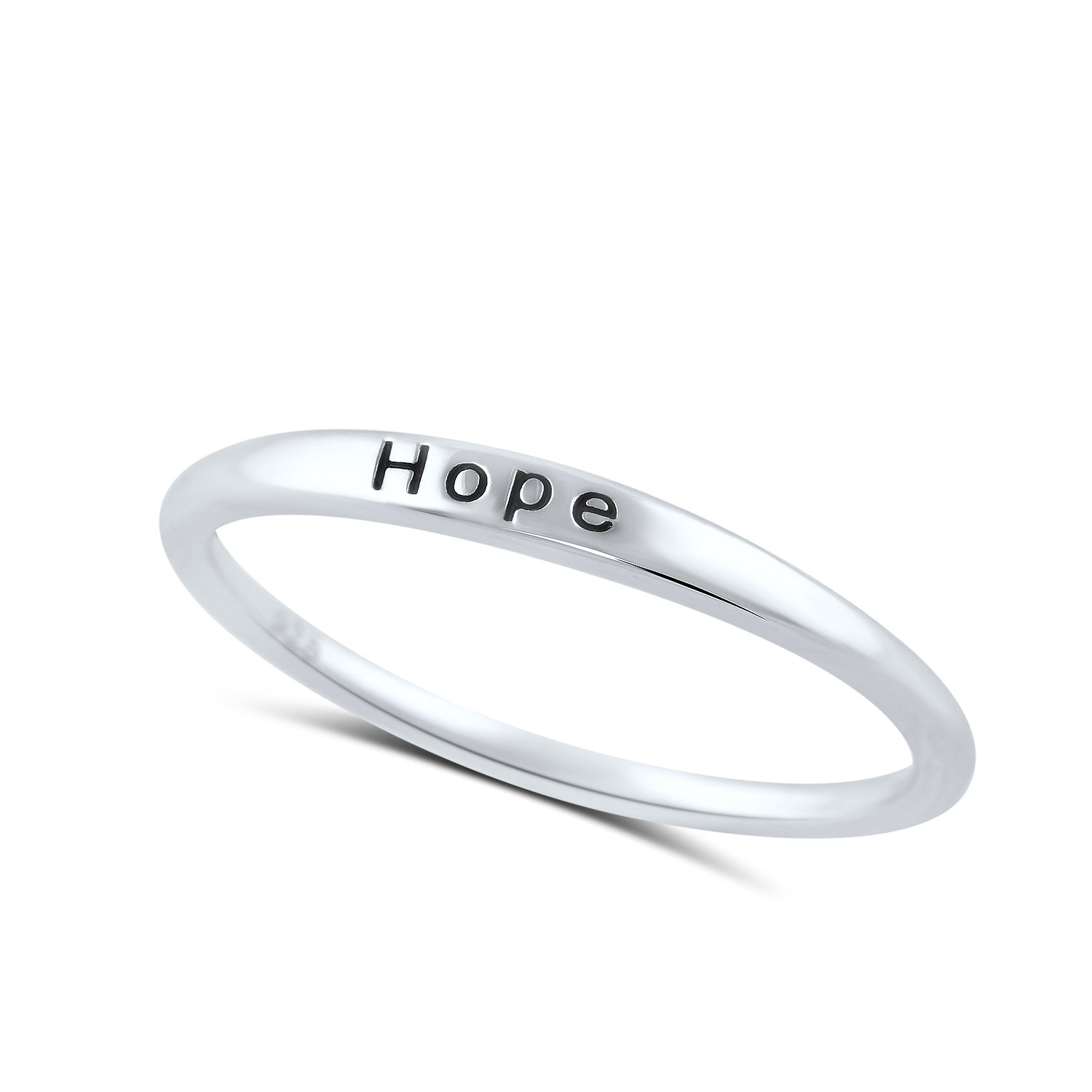 Sterling Silver Thin Stackable Hope Ring - Size 7