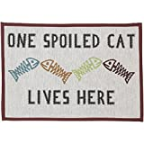 PetRageous Designed Tapestry Placemat for Pet Feeding Station - 13-Inch by 19-Inch - One Spoiled Cat - Natural Multi