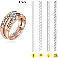 Ring Size Adjuster Ring Guard Clip Invisible Tightener Transparent Resizer for Loose Ring Set of 4 Sizes Pack of 4