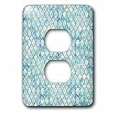 3dRose Uta Naumann Faux Glitter Pattern - Luxury Trendy Beach Sea Moroccan Arabic Quatrefoil Tile Pattern - Light Switch Covers - 2 plug outlet cover (lsp_268954_6)