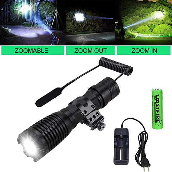 VASTFIRE Adjustable Focus Tac Flashlight 1 Mode 500 LM