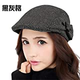 Women fall fashion female autumn winter leisure all-match peaked cap fine style elegant hat female,M (56-58cm) Regulation of sweat band,Black grey lattice