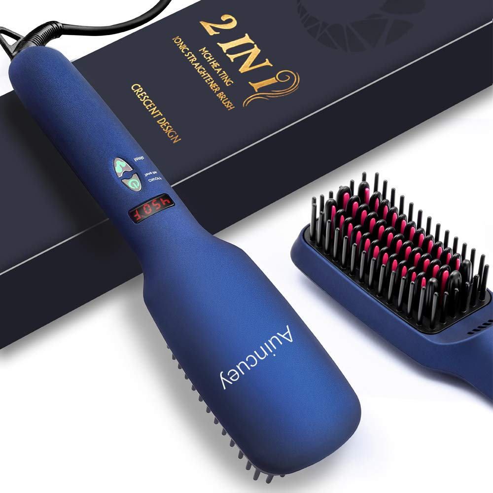 AUINCUEY Hair Straightener Brush – Hair Straightening Brush Hair Straightener Ceramic Faster Heating, 6ft Rotating Cord Dual Voltage Hair Straightener Travel Design with Ionic Anti Scald Auto Off