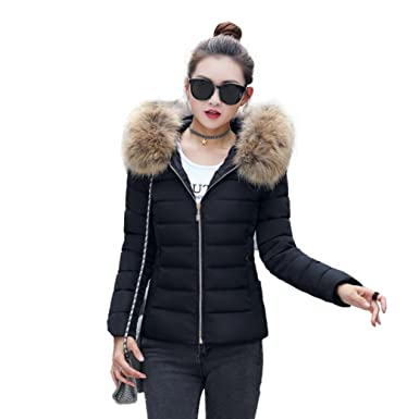 926178229 Challyhope Women Winter Quilted Down Coat Short Slim Faux Fur Hooded Puffer  Jacket