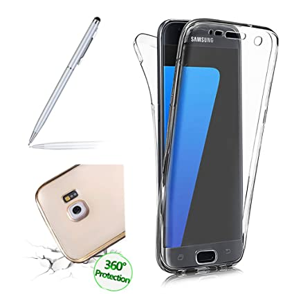 Galaxy S7 Edge Hülle, Clear Cover für Samsung Galaxy S7 Edge 360 Grad Full Body Silikon Schutzhülle, Girlyard Ultra Dünn Weic