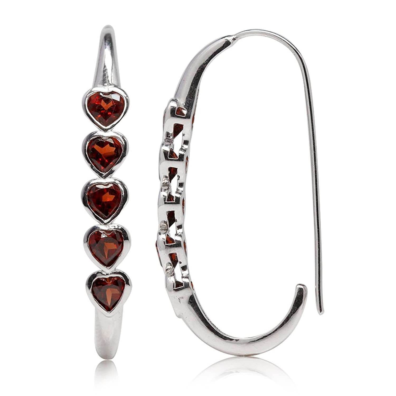 3ct. 5-Stone Heart Shape Natural Garnet White Gold Plated 925 Sterling Silver Journey Hoop Earrings
