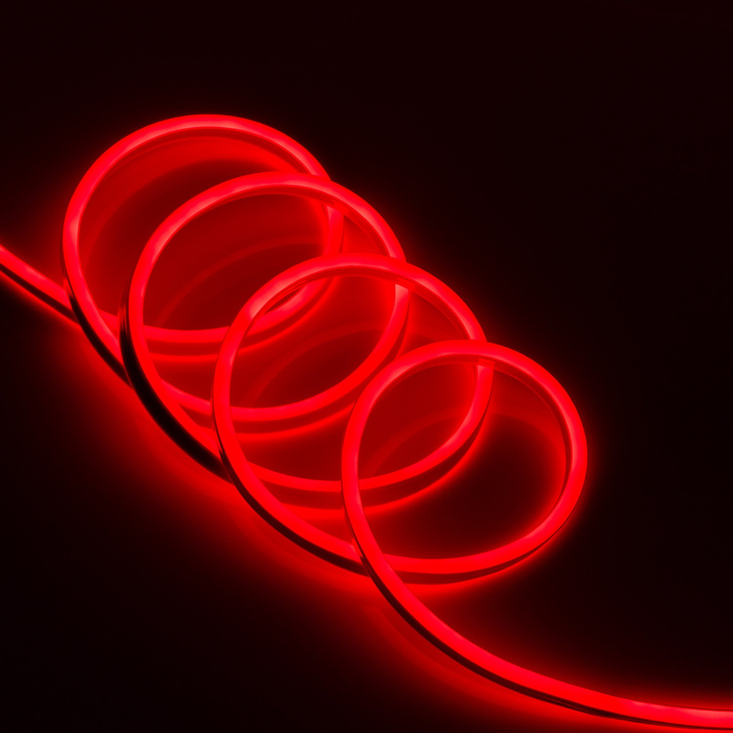 WYZworks Red Flexible Water Resistant Soft Double Side LED Neon Rope Light Strip Bar 100FT