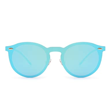 68807be1cb7 Polarized Rimless Sunglasses One Piece Reflective Round Mirror Glasses Men  Women (Gold Mirror Blue)  Amazon.co.uk  Clothing