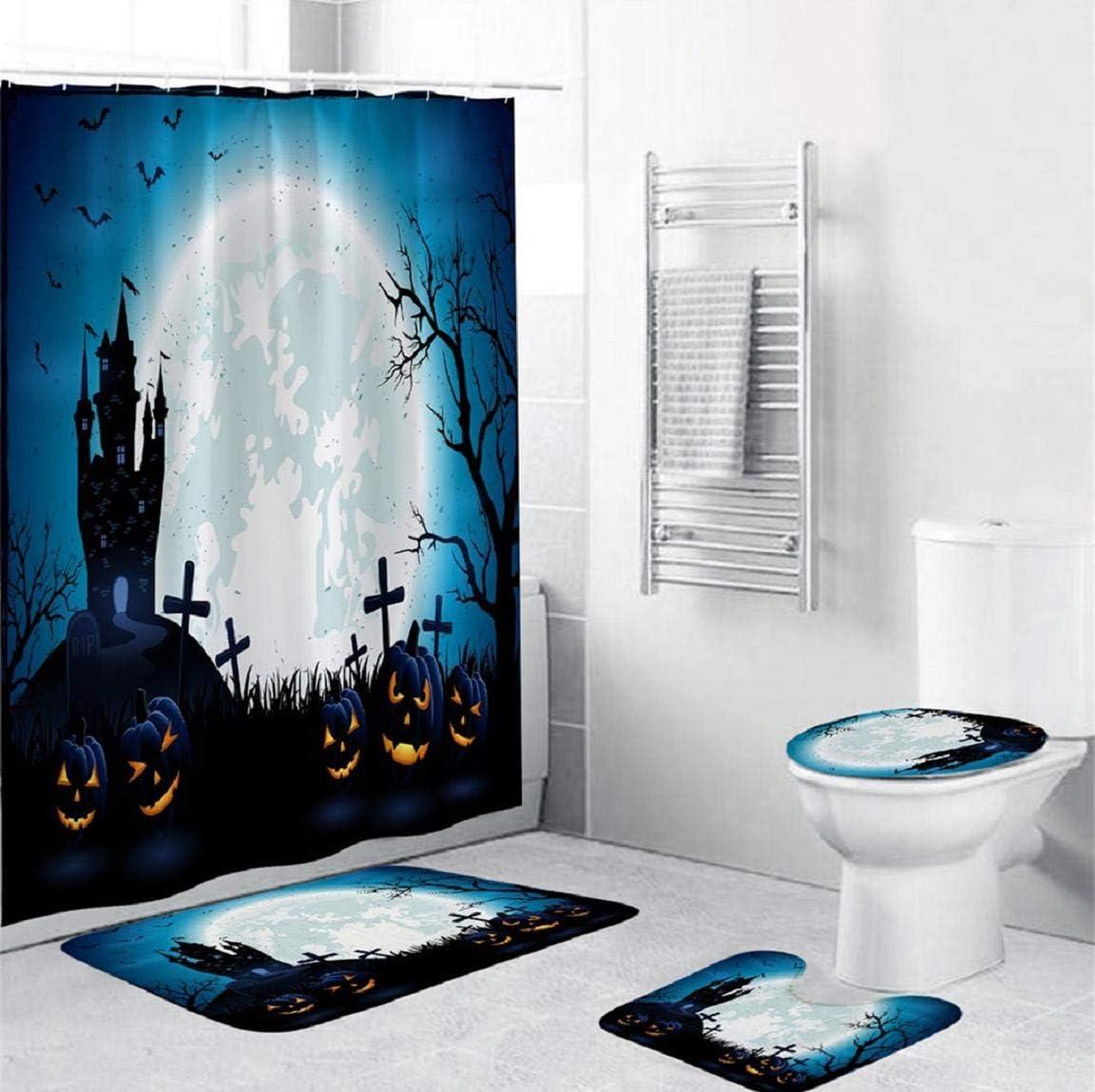 Giraffe Shower Curtain Set Thick Bathroom Rug Bath Mat Non-Slip Toilet Lid Cover