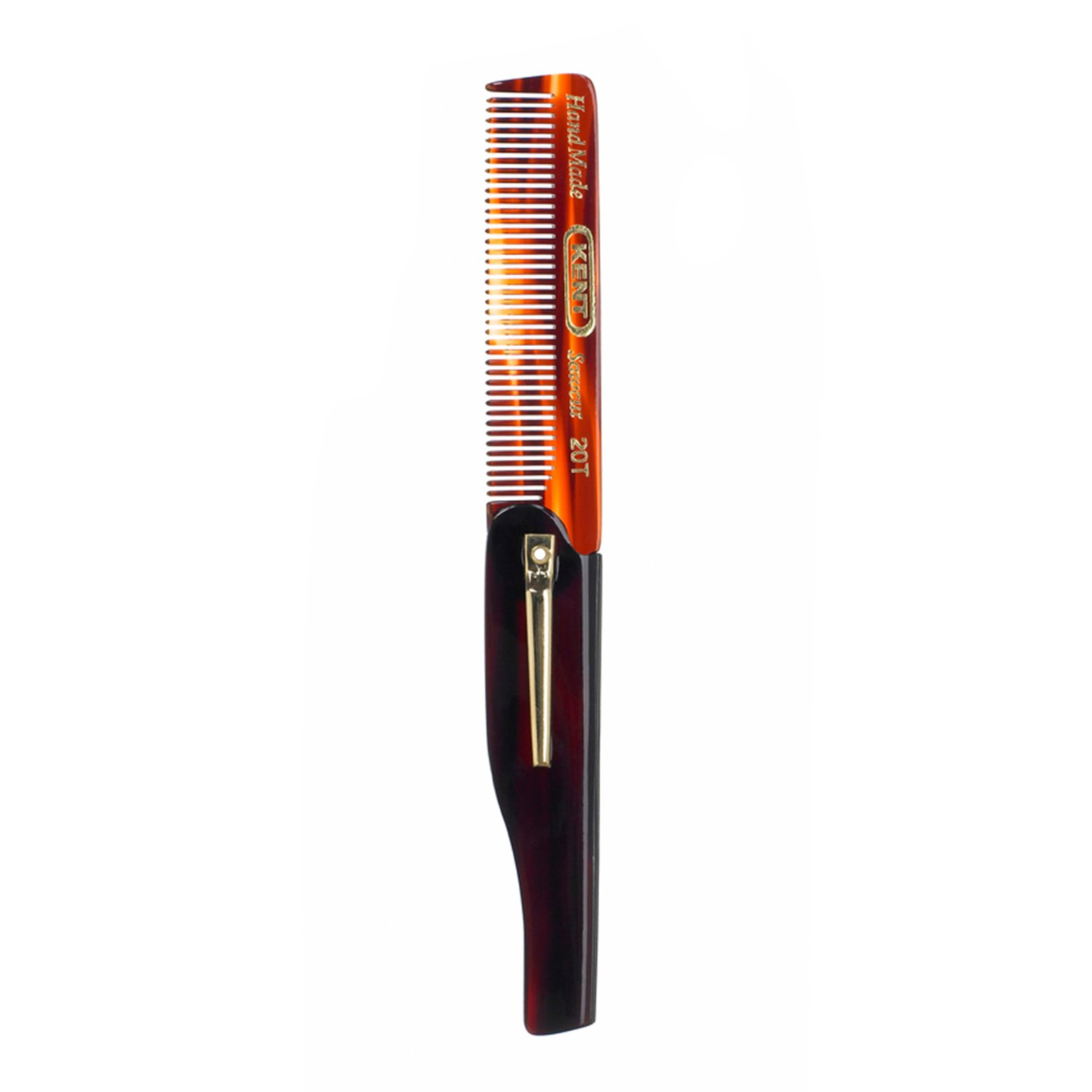 Kent 20T - 100mm Fine Tooth Folding Comb with Pocket Clip
