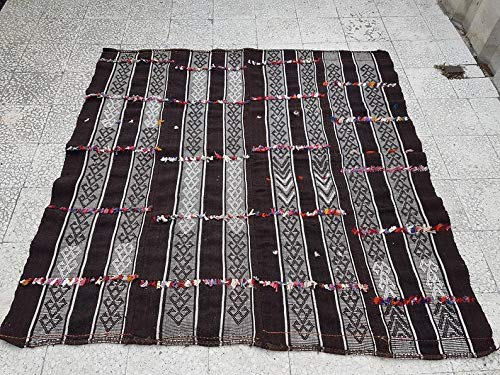 (Vintage Square Flatweave Outdoor Kilim Mid 20Cty, Hardwearing with recycling material, Large Wool Brown Kilim 6'1'' X 6'2'' (185 x 189 Cm))
