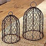 AG-10 2 Set Decorative Rustic Chicken Wire Domes Cloche Metal Centerpiece Antique