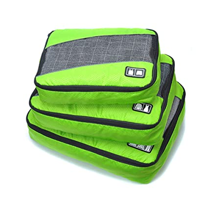 7d4ab853bb17 Belsmi 3 Set Durable Packing Cubes Set - Waterproof Compression Mesh Travel  Luggage Packing Organizer (Solid Green)