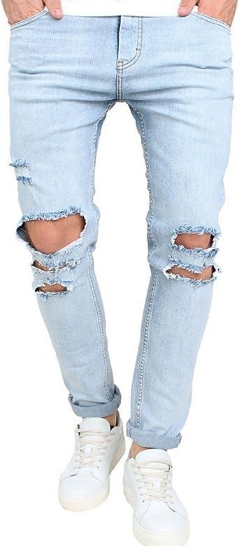 Amazon Com Jeans De Hombre Cenidos Gastados Rasgados Pantalones Azul Claro Rotos Con Agujeros En Las Rodillas 34 Azul Claro Clothing