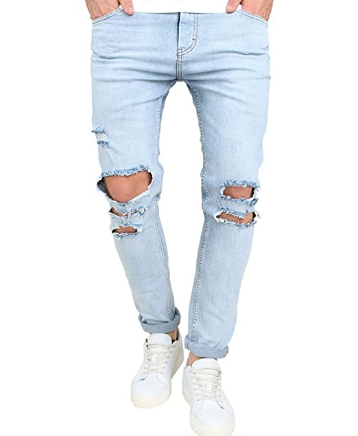 f2b64b30 Men's Skinny Ripped Washed Jeans Destroyed Knee Holes Denim Broken Light  Blue Pants (28)