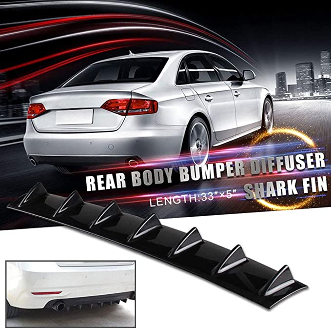 Shark Fin 7 Wing Lip Diffuser 33 x 6 Rear Bumper Chassis Black ABS Universal