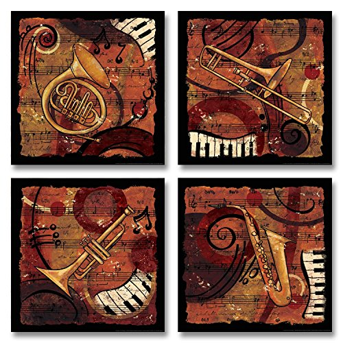 Jazz Music I Classic, Retro Trumpet, Sax, Trombone Band; Four 12x12 Poster Prints…