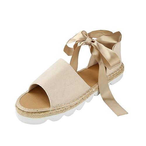 ... Señoras Sandalias Planos Playa Calzado Zapatillas Mujer Flip Flop Sneakers Cuñas Alpargatas Planas Cordones 40 41 42: Amazon.es: Zapatos y complementos