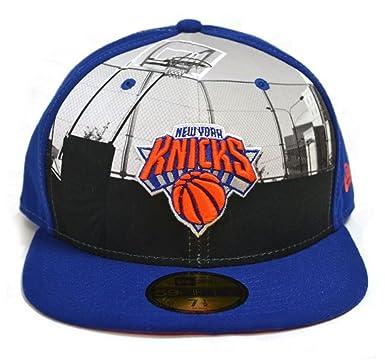 cb569d10982 New Era 59fifty Round Dway New York Knicks Blue NBA Fitted Flat Peak Hat Cap   Amazon.co.uk  Clothing