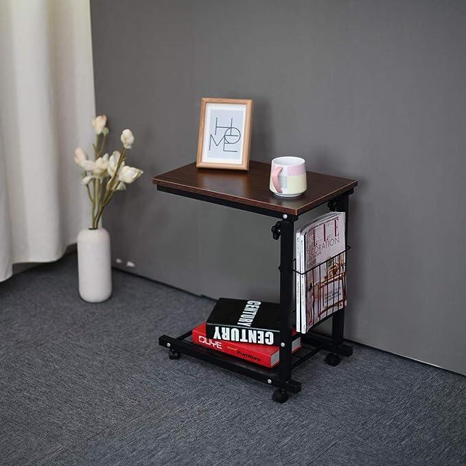 Altura Ajustable con Ruedas, Mesa Auxiliar para sofá deslizable ...