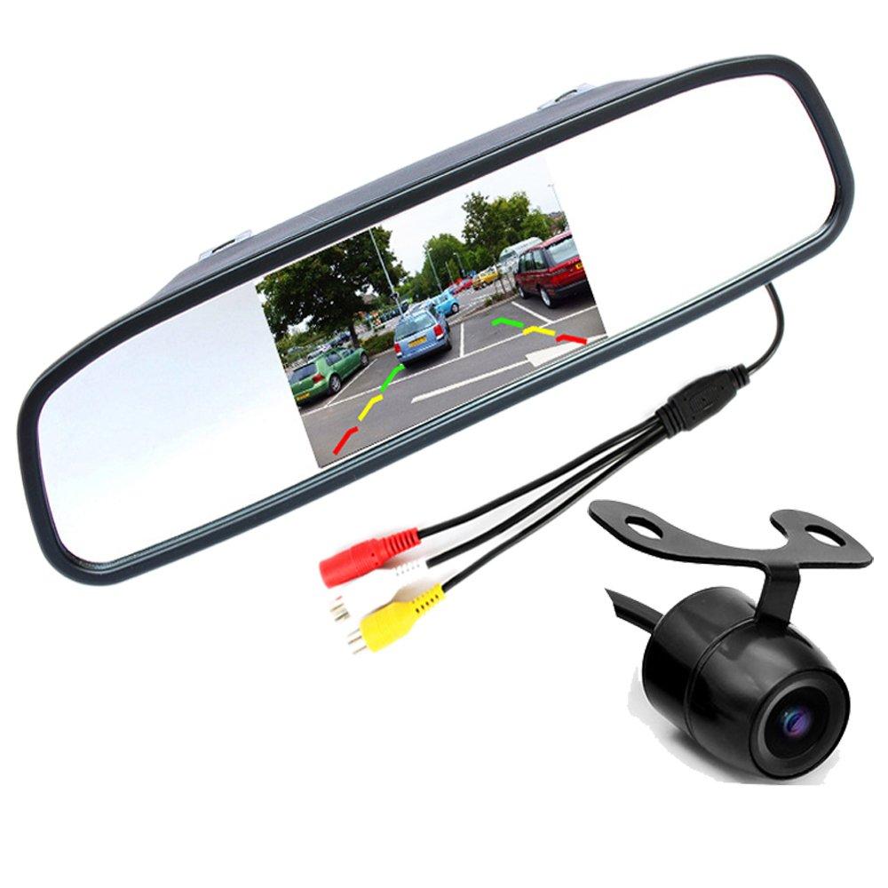 PolarLander 4.3 Display LCD dello Specchio di Automobile del Monitor a Colori TFT con 170 Gradi di Angolo Impermeabile Rear View Camera parcheggio Sistema di Assistenza