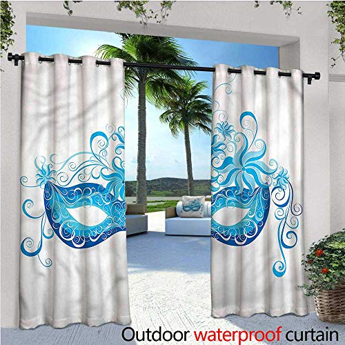 warmfamily Masquerade Outdoor Privacy Curtain for Pergola Halloween Night Mask Thermal Insulated Water Repellent Drape for Balcony W120 x L84 ()