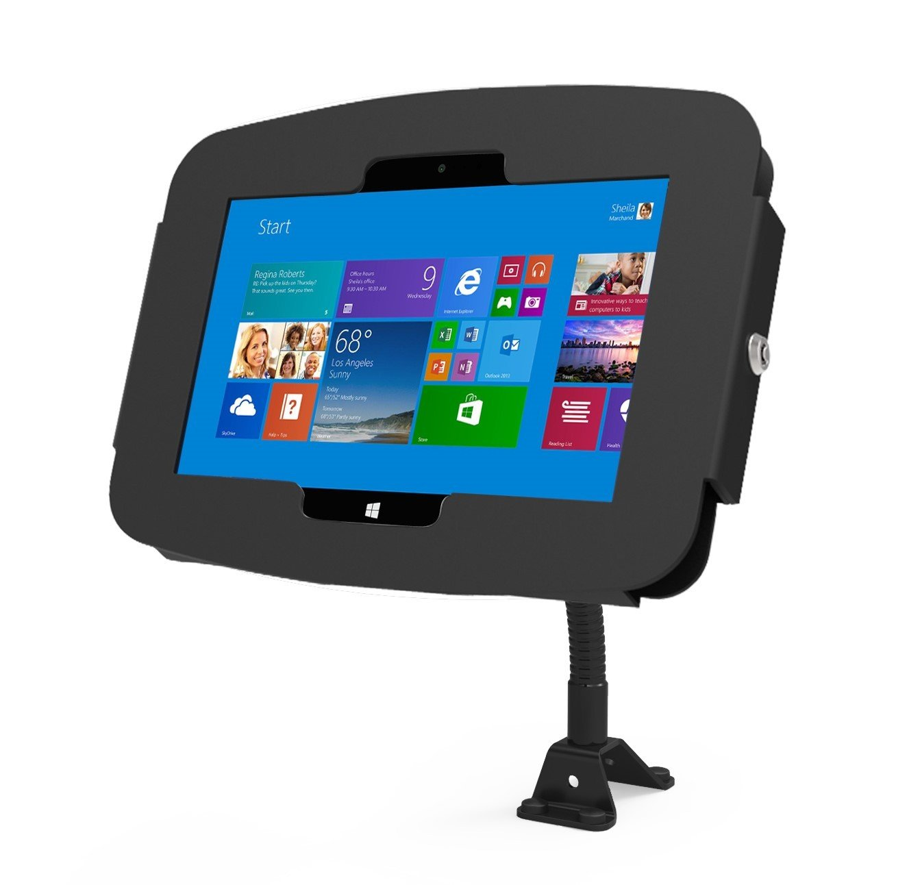 Maclocks 159B518GEB Secure Space Enclosure Stand Kiosk with Flex Arm for Surface 3 10.8 Inch (Black)