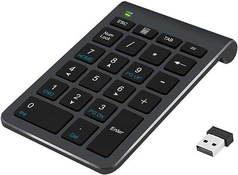 Alcey Teclado numérico inalámbrico, 22 Teclas con Receptor Mini USB 2.4G para iMac, MacBooks, PC y portátiles – Negro