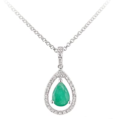 Naava Women's 9 ct White Gold Diamond and Sapphire Gemstone Teardrop Necklace of Length 40 cm 9pHjr