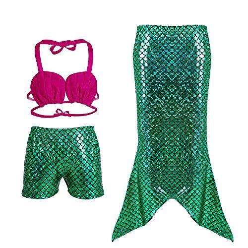 Frogwill Girls Mermaid Tail Bathing Suit 3 Piece Bikini Set Swimwear (La La 3 Piece Costumes)
