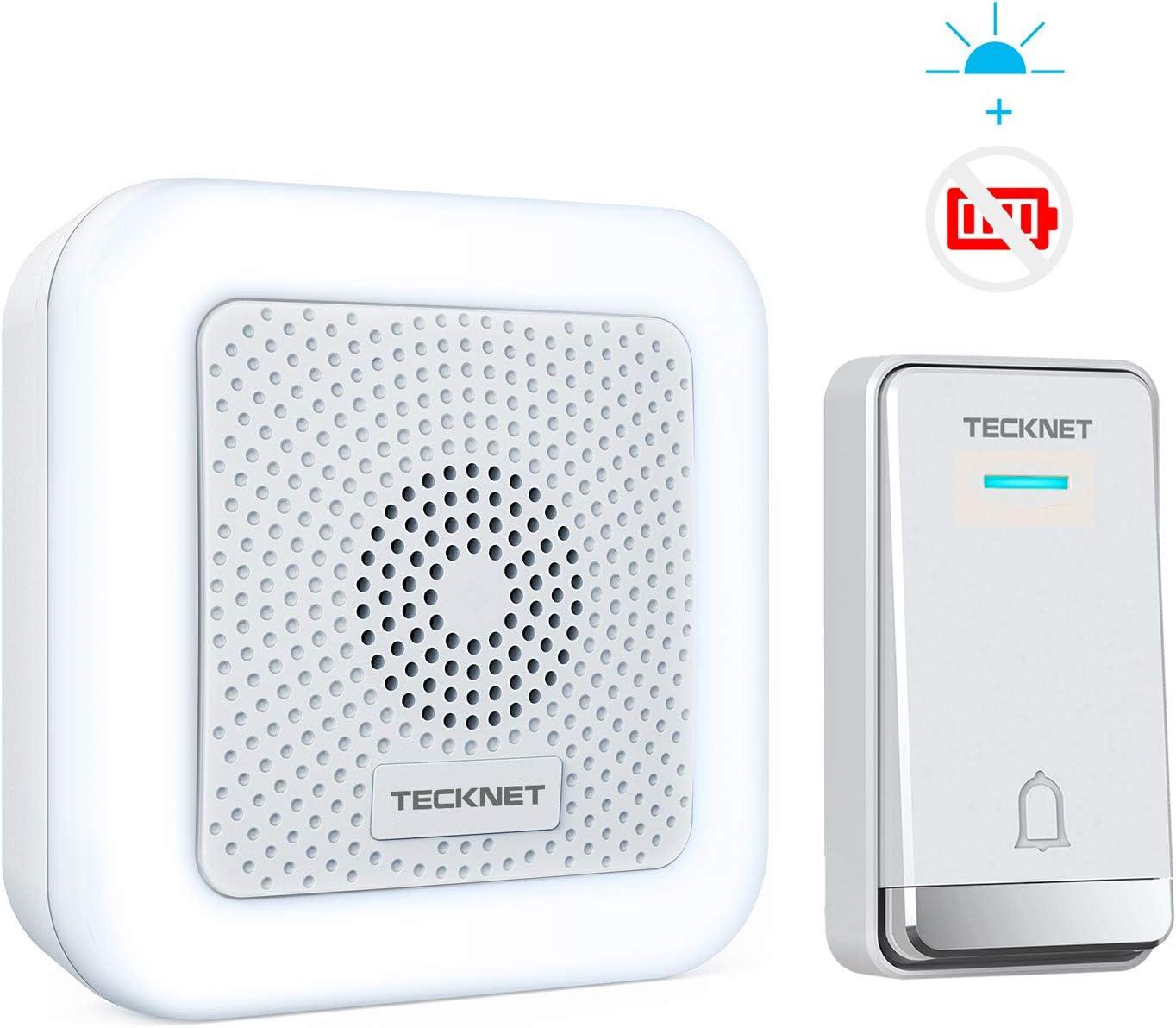 TeckNet Waterproof Wall Plug-in Cordless Door Chime Kit Light Wireless Doorbell