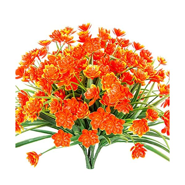 TEMCHY Artificial Daffodils Fake Large Flowers, 4 Bundles Orange UV Resistant Faux Greenery Foliage Plants Shrubs for Garden, Wedding, Outside Hanging Planter, Farmhouse Indoor Outdoor Decor