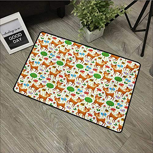 Bathroom mat W24 x L35 INCH Cartoon Animal,Baby Deer and Other Forest Elements Mushrooms Butterflies Flowers and Nuts,Multicolor Our Bottom is Non-Slip and Will not let The Baby Slip,Door Mat Carpet ()
