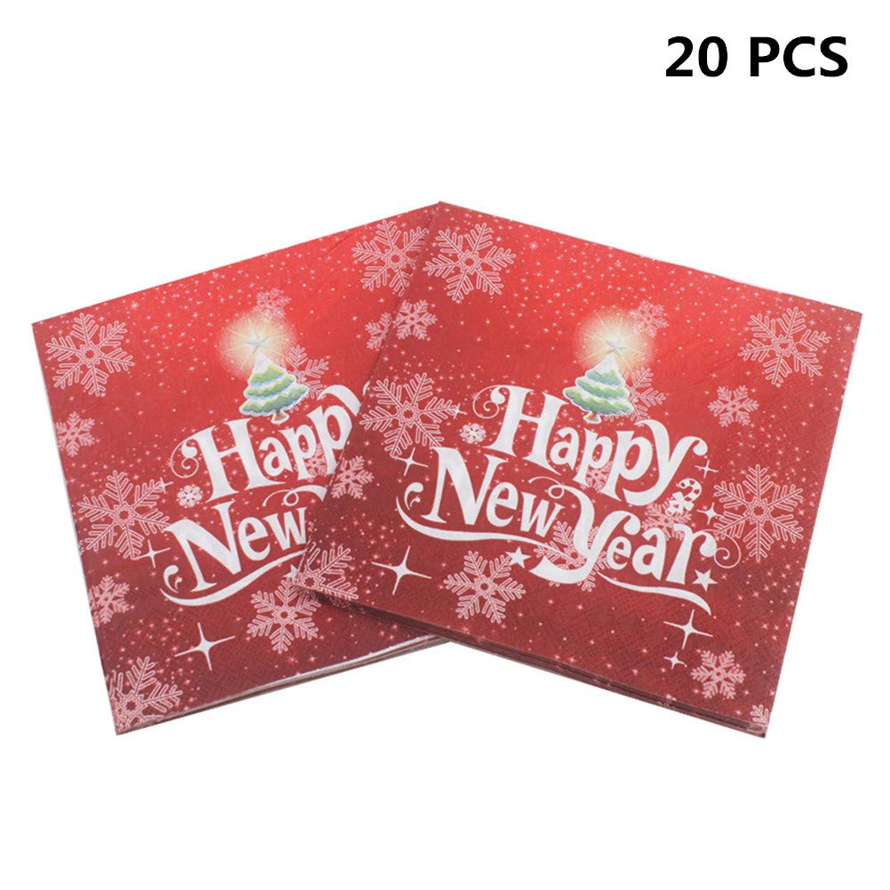 Poluka 20Pcs/Pack Happy New Year Christmas Napkins Disposable Paper Napkins Christmas Party Tableware Set Restaurant& Party Tissue Napkins Decoupage Decoration Table Decor Christmas Party Favors-Red Discussz
