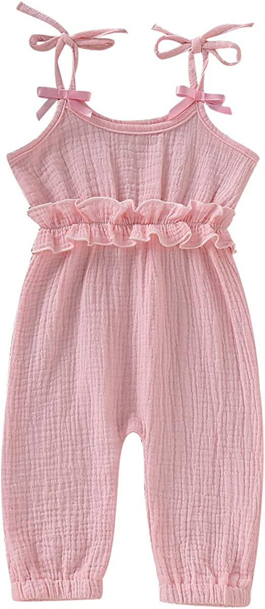 Yaoyaou Toddler Baby Girl Cotton Jumpsuit Summer Ruffle Sleeveless Backless Adjustable Bowknot Tie Suspender Overall Romper