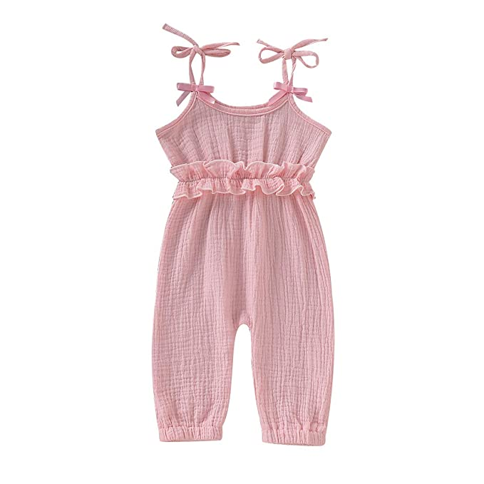 609ec87a98d Kids Newborn Infant Baby Girls Summer One Piece Romper Clothes Jumpsuit  Ruffled Halter Bodysuit (Pink