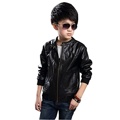 64211ba4e6f3 Amazon.com: CH&Q Children s PU Thick Collar Boys Motorcycle Coat ...