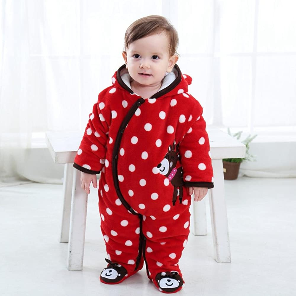 Ecurson Newborn Infant Baby Boy Girl Long Sleeve Deer Hooded Romper Jumpsuit Clothes