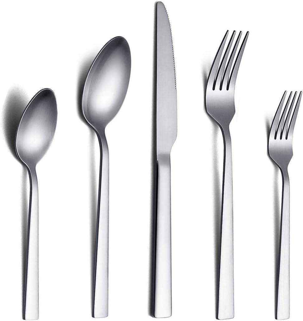 Berglander Matte Cutlery Set 24 Pieces Stainless Steel Flatware Set with Matte Finish Matte Silverware Set Service for 6