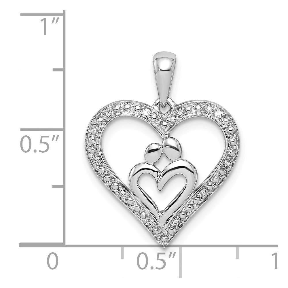 Pendant FB Jewels Solid 925 Sterling Silver Rhodium Diamondm