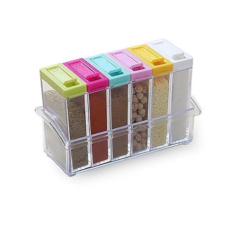 Especiero recipiente para especias Especias latas con 6 accesorios dosificadores plástico de begrit con el Estantería